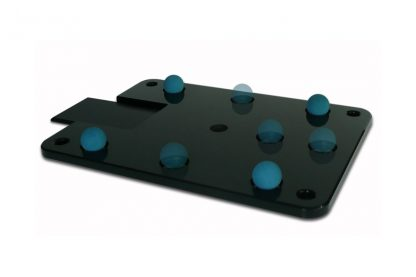Cloud 9A bottom plate, shown with vibration control balls positioned in the dimples