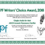 2018 Positive Feedback Writers' Choice Award:  ARCH Acoustic Resonance Clarifier